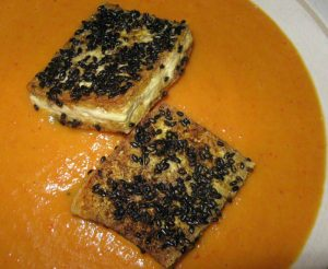 Curried Carrot Soup with Sesame Crusted Tofu in a Heathware bowl - Alice DeLuca 2012 digimarc